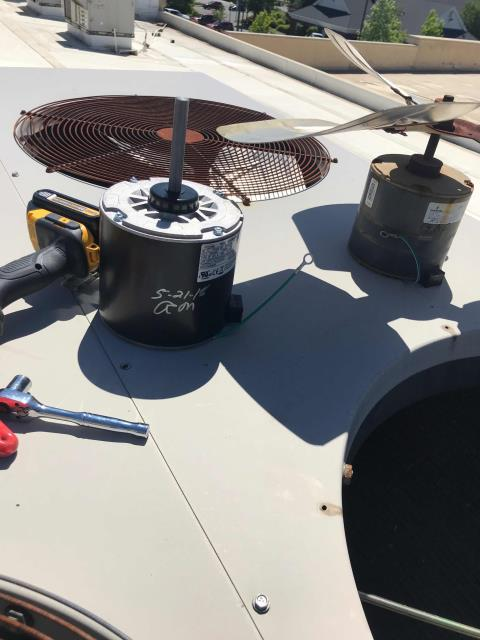 Redding, California, a/c technician dispatched to a home goods store for approved repairs. The Lennox AC needed the condenser fan motor replaced. Tech also replaced the capacitor and fan blade. Tested system, back up and running and site comfortable.