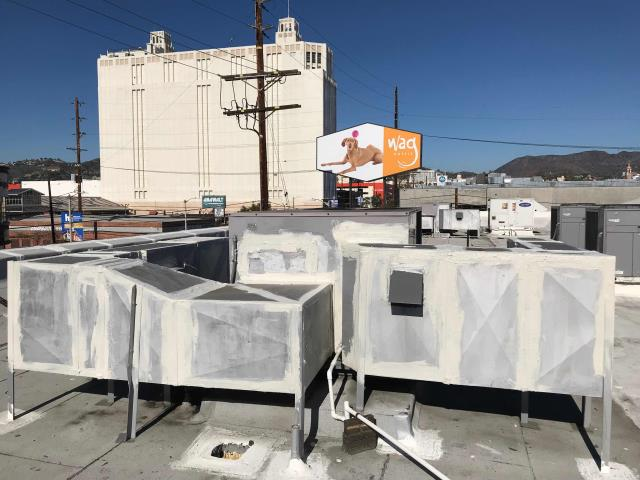Los Angeles, CA - LA county a/c technician arrived at a pet hotel to perform approved work. The dryer vent ducting needed to be sealed. Tech applied sealant on the exposed rectangle duct, confirmed that all holes were sealed properly.