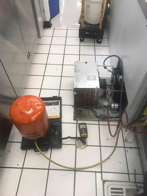 Fresno, CA - Dispatched our Fresno, California, area refrigeration technician to complete approved work at a pharmacy chain. The Masterbilt hand-dip had a failed compressor that the technician had to replace. Also swapped out the liquid line drier and filter drier. Verified braze connections were leak free, pulled vacuum and recharged. Monitored system until temperatures dropped to normal ops.