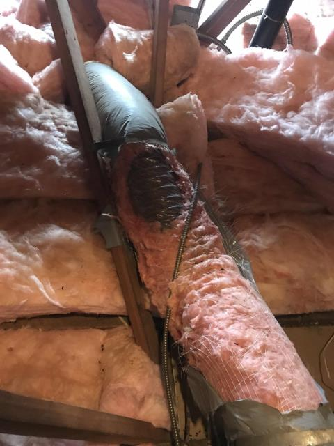 Pasadena, CA - February a/c PM scheduled for an office building in Pasadena, CA. Filters were swapped out, belts tested, units inspected. Noted a 15 foot section of flexduct in poor shape, has split open, will quote to customer for replacement.