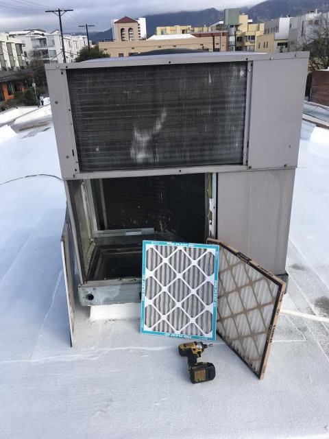 Pasadena, CA - RESSAC PM technician completed the air conditioning maintenance at a second office building in Pasadena, California. Filters changed, belts adjusted, all units working fine.