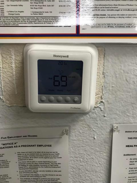 A hearing aid supplier in Arcadia, California, reported their site was too cold. Our technician found the thermostat defective. Supplied one from the local part house and installed. Instructed customer on use of stat, no other problems onsite.