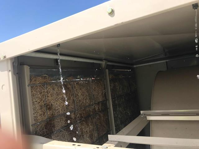 A rental supply store in Hesperia, California, reported a new swamp cooler not working. Our technician found the pump on the swamp cooler had failed. Was able to source locally, returned and replaced. Also added water treatment tablets to system, cleaned cooler. Unit working normally now.