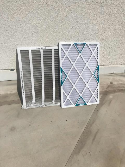 Escondido, CA - AC maintenance scheduled at a chiropractor's office in Escondido, CA. One unit, system in good condition. Swapped out filters, checked all components and reported in to customer.
