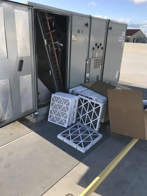 Winter quarter a/c maintenance scheduled for a sporting goods store in San Joaquin County. All belts, electrical, fan blades and motor parts were inspected. AC filters swapped out. Heating and cooling tested. Site has six newer units, working well and no problems to report.