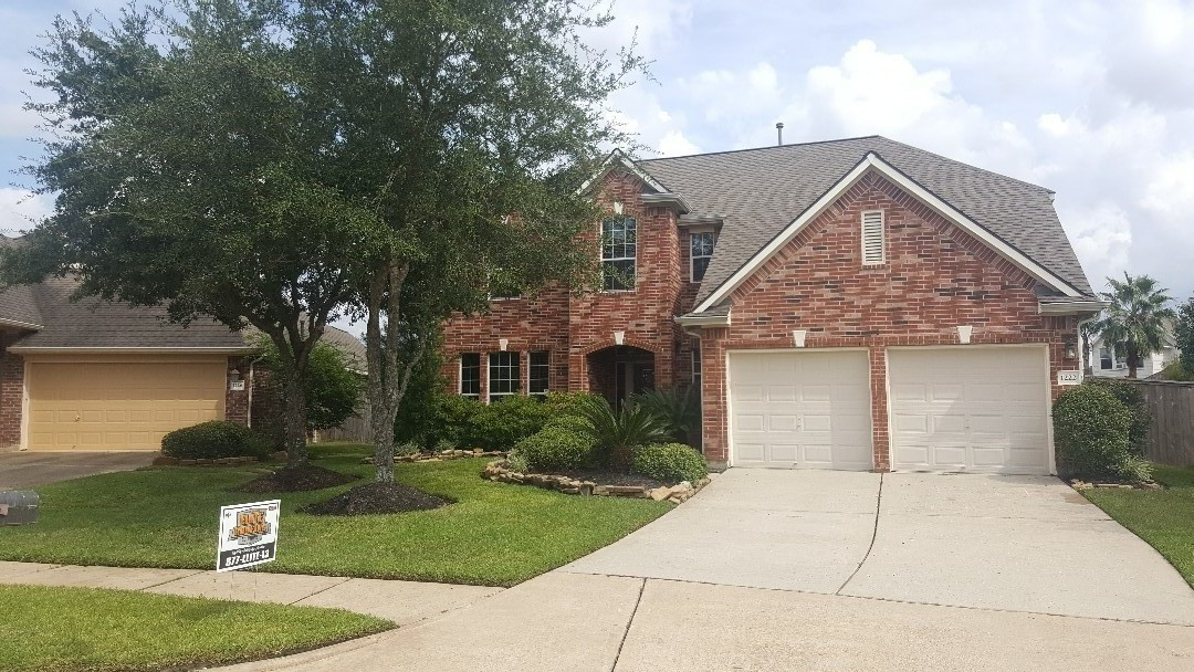 Spring, TX - GAF weathered wood Timberline HD shingle with Cobra 3 ridgevent, all new flashings, synthetic underlayment on this hail damaged insurance paid for roof.