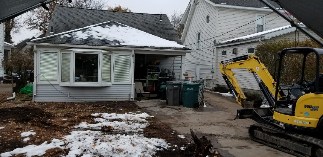Dearborn, MI - Tree has been removed.  Getting ready to excavate for a new family room addition in Dearborn