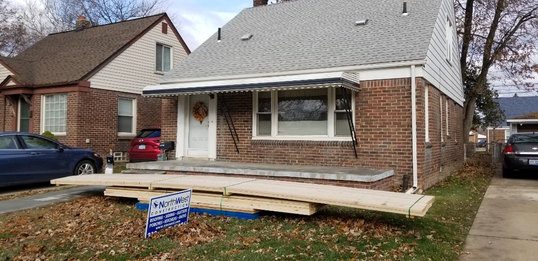 Dearborn, MI - Lumber arrived for a new front porch overhang....can't wait to see it. Dearborn porch overhang