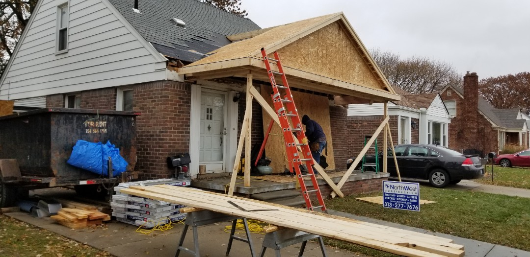 Dearborn, MI - New front porch overhang in Dearborn