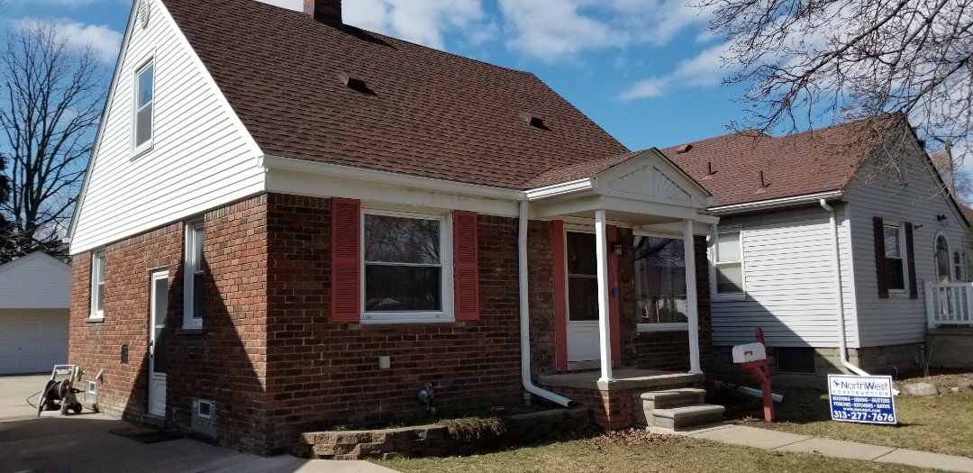 Dearborn, MI - Replace porch overhang supports with load bearing aluminum square fluted columns and repair brickwork