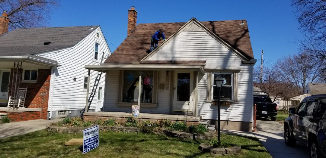 Dearborn, MI - Emergency roofing repairs. Wind damage,  roof leak. Dearborn