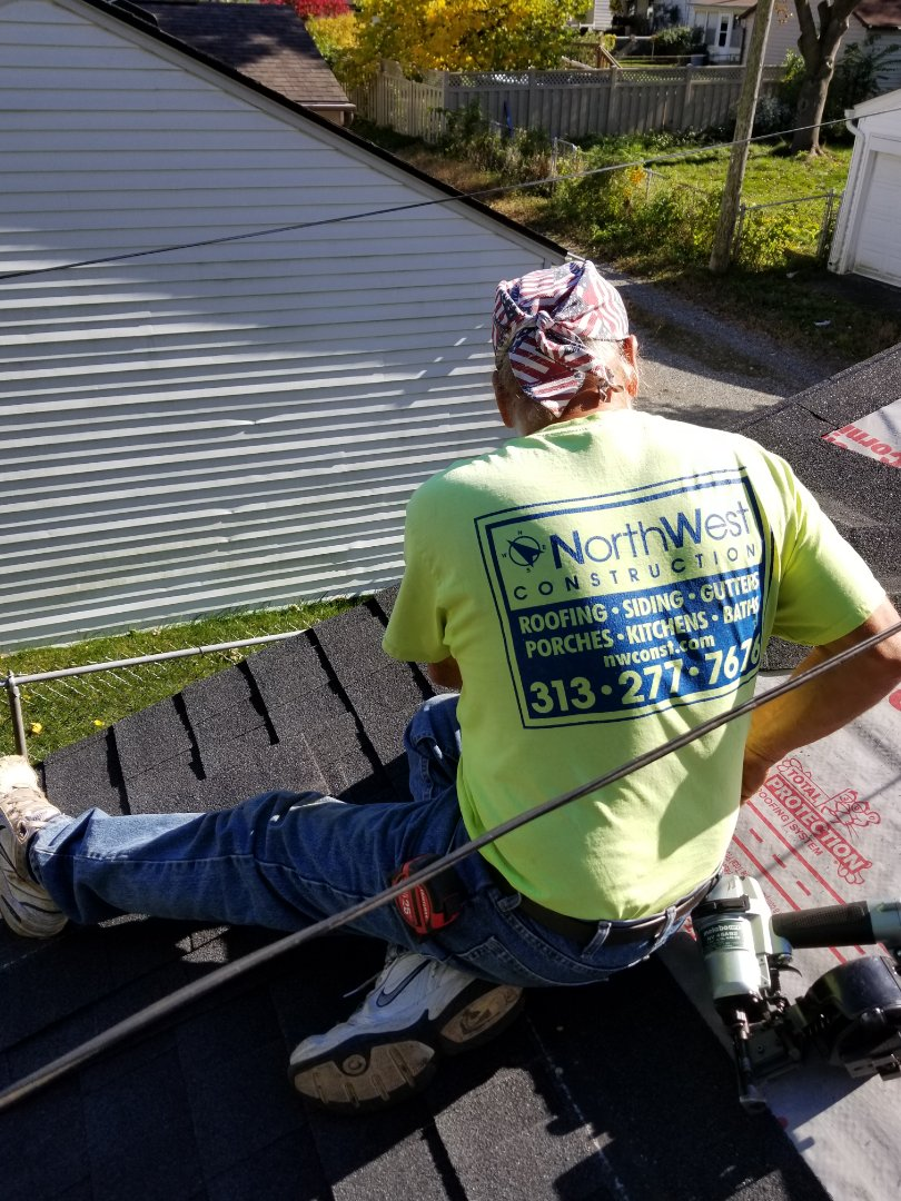 Dearborn, MI - Roofing project underway, beautiful fall day to install a new GAF Timberline Natural Shadow Charcoal roof