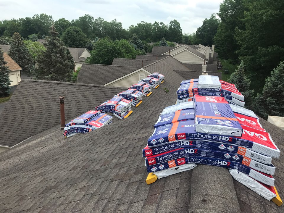 Westland, MI - Starting roofing on a big condo complex in Westland. GAF Timberline HD shingles with some major attic ventilation upgrades.
