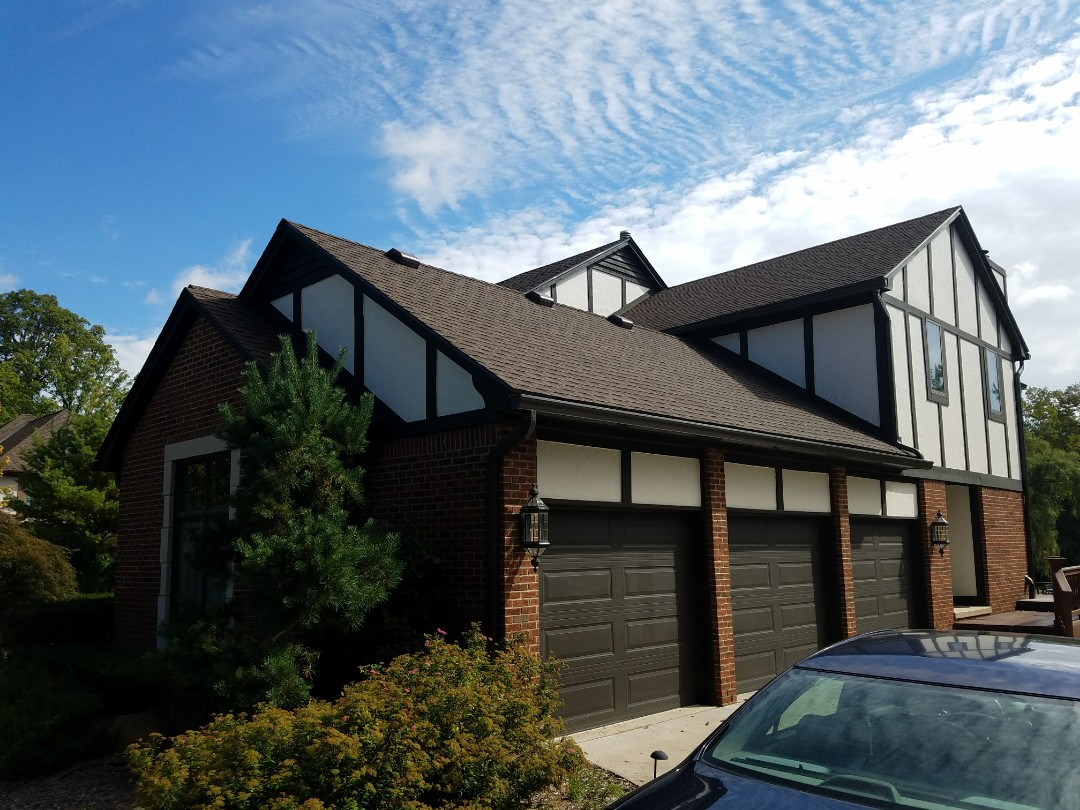 Troy, MI - GAF Timberline High Definition roofing, Barkwood, new Six inch seamless gutters and downspouts