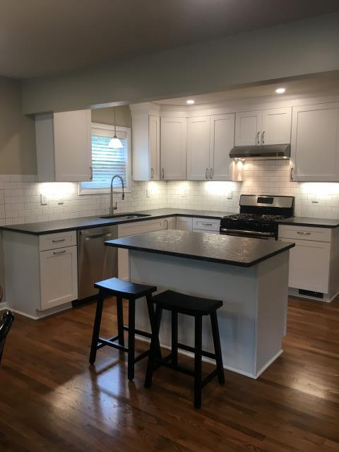 Worthington, OH - After photo of a sparkling, bright and fully updated kitchen that maximizes the space available and opens fully into the living area, allowing the chef to be a part of the action!