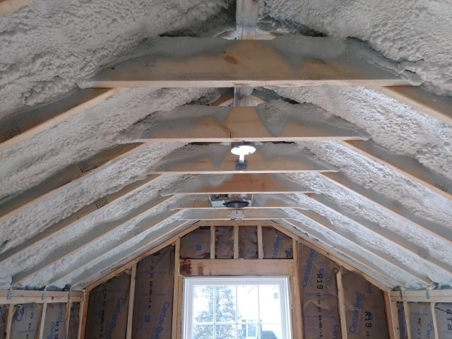 Worthington, OH - Adding spray foam insulation to the rafters of this second story addition will help keep this space warm and cozy through the cold Ohio winter.