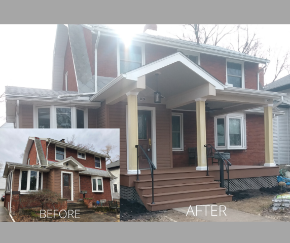 Columbus, OH - Just wrapping up this front porch addition in Clintonville.  Now, the owners will be able to visit with neighbors and entertain guests in the additional covered outdoor living space.  Spring can't get here soon enough!