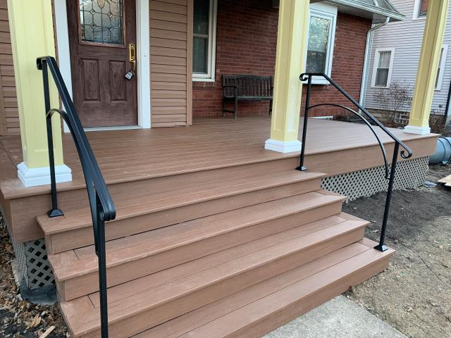 Columbus, OH - Just finishing up trim work on this fantastic front porch addition in Clintonville.  The porch floor is covered with a TimberTeck AZEK polymer decking material that far surpasses wood products with regards to maintenance (none) and longevity (lifetime warranty)!