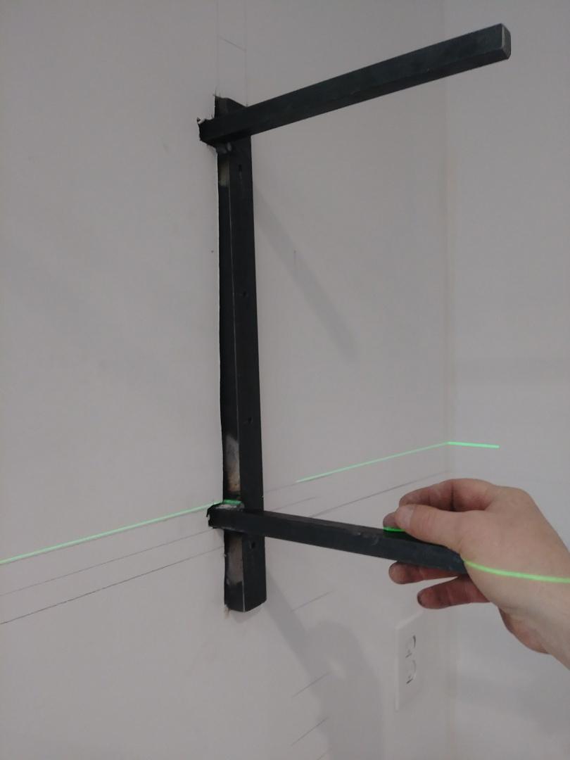 Worthington, OH - Custom designed brackets for floating shelves in a modern kitchen