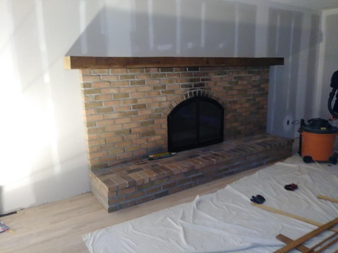 Columbus, OH - Custom reclaimed Barn Timber mantel for fireplace