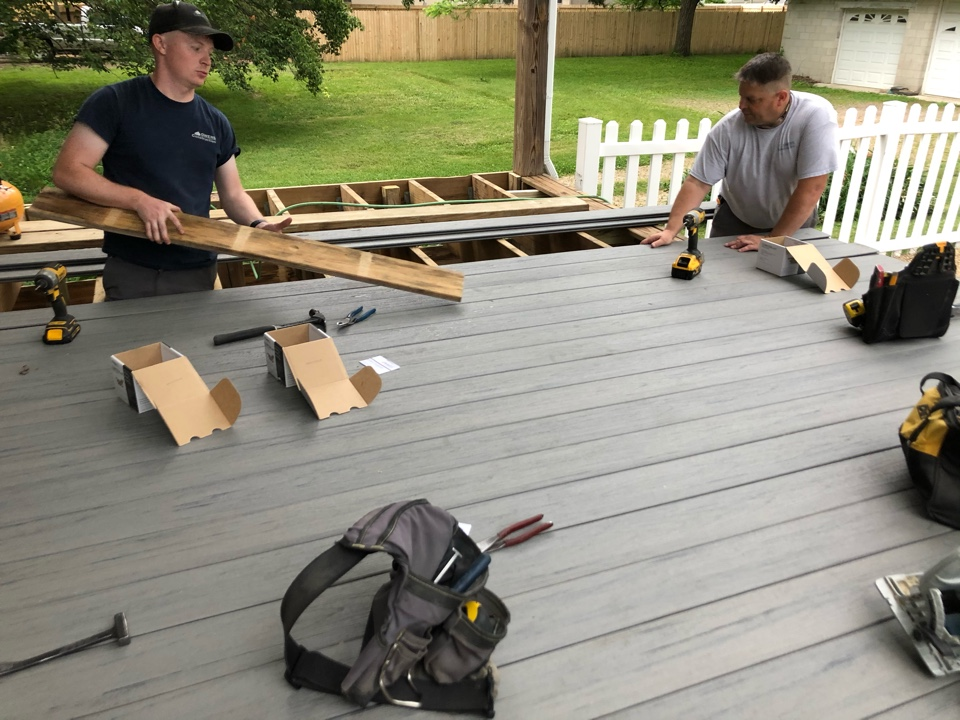 Worthington, OH - Redesign of an existing deck with Timbertek Storm Grey composite decking