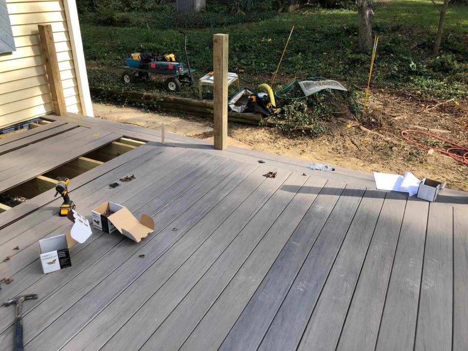 Worthington, OH - A new Timbertek deck is coming together just in time for fall fire pit weather!