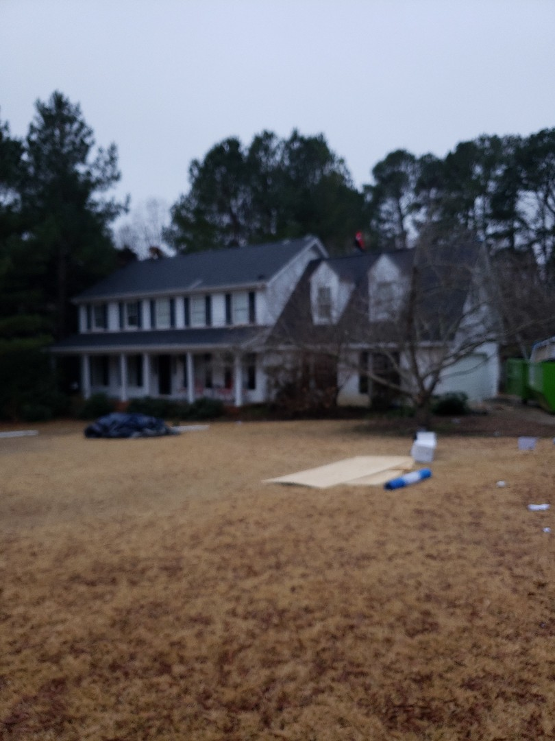 Raleigh, NC - Finishing up another roof after a free inspection. The CertainTeed  Moire black looks great.