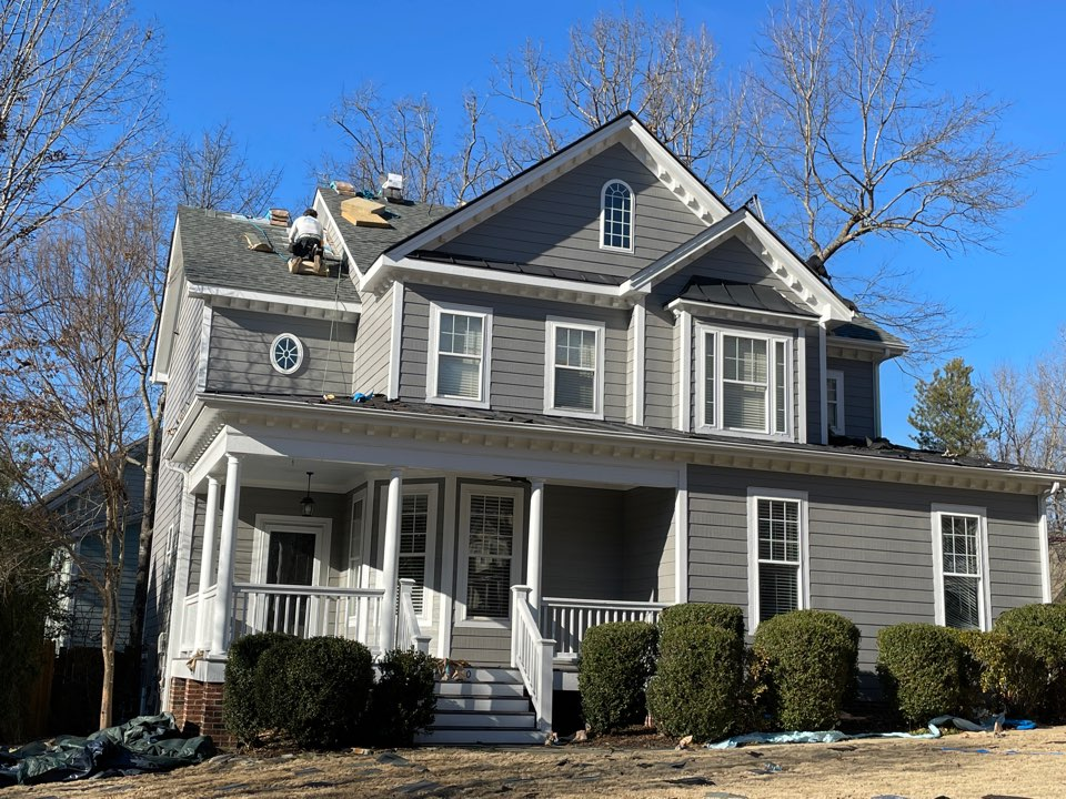Apex, NC - Colonial Slate shingles looks great on light colored houses! And the black drip edge adds a pop of definition to the front elevation!
