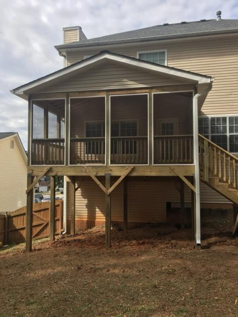 Riverdale, GA - Demo old deck and designed a new deck with gable roof and screened it in.