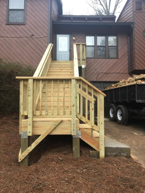 Installed front porch & stairs in Marietta