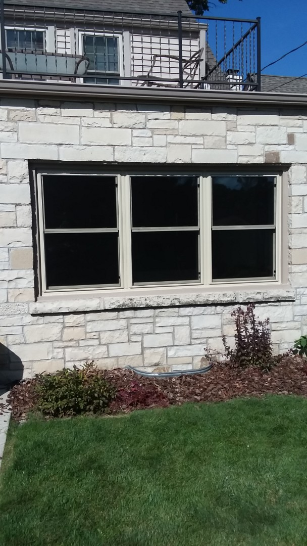Milwaukee, WI - Two windows full frame with woodwork and aluminum trim