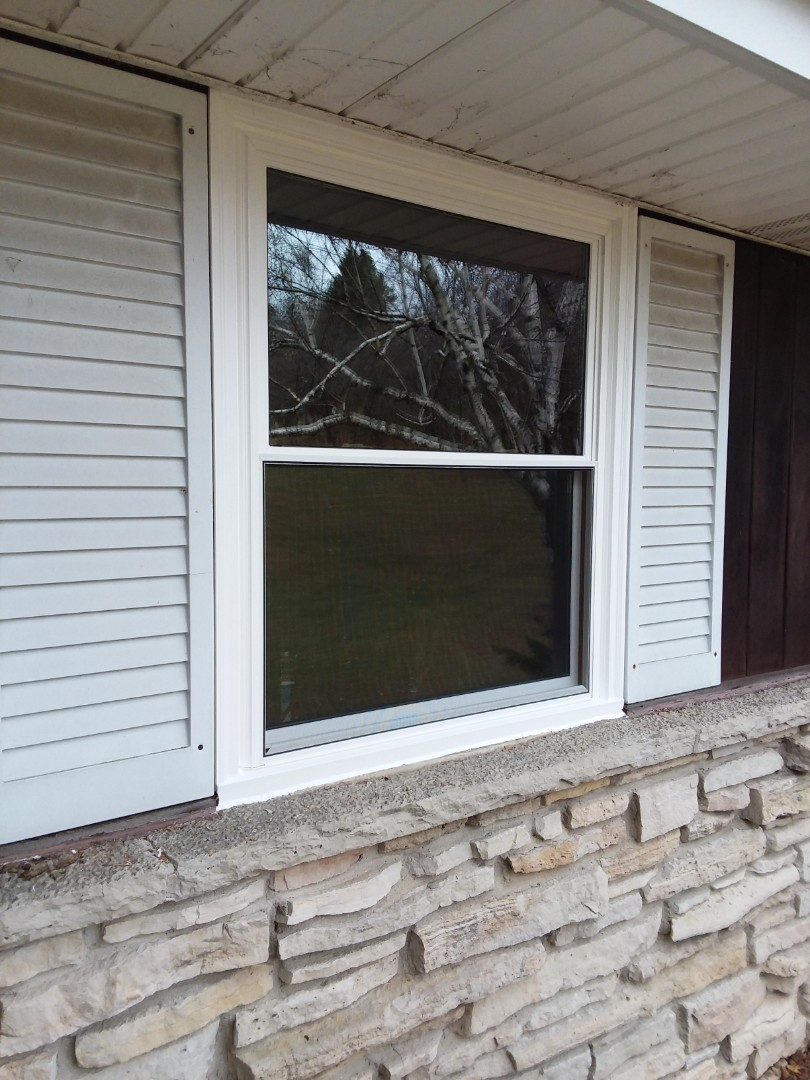 West Bend, WI - Six windows full frame with woodwork and vinyl brickmold
