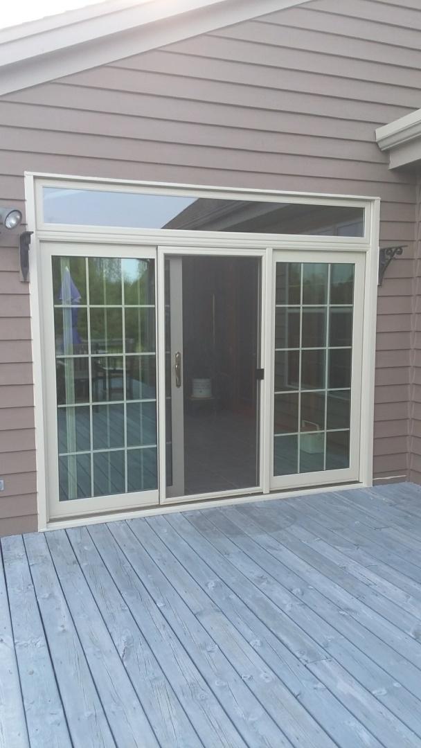 Oconomowoc, WI - 3 panel patio door with transom, Day 2