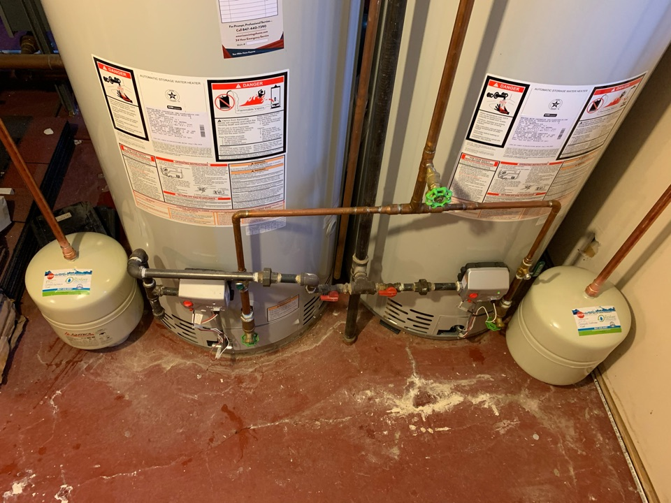 Evanston, IL - Installed 2 expansion tanks on existing water heaters.