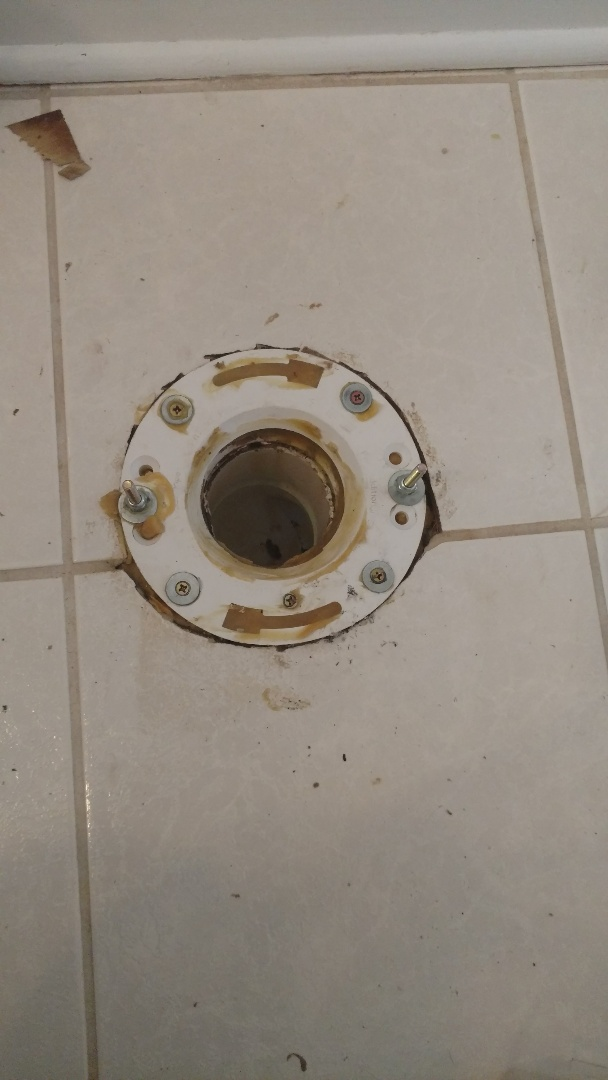 Geneva, IL - Repaired a broken toilet flange causing a wobble that could have resulted in water damage.