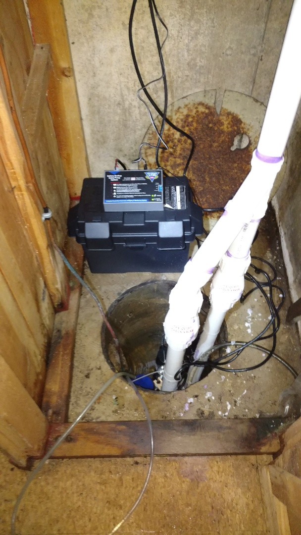 Replaced primary and battery backup sump pump with maintenance free battery