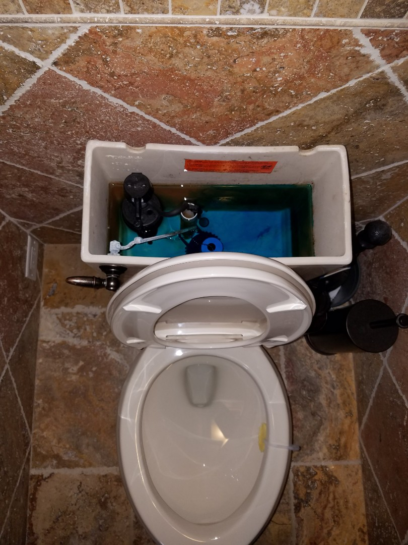 West Chicago, IL - Perform a dye test to determine the point of leakage in a toilet.