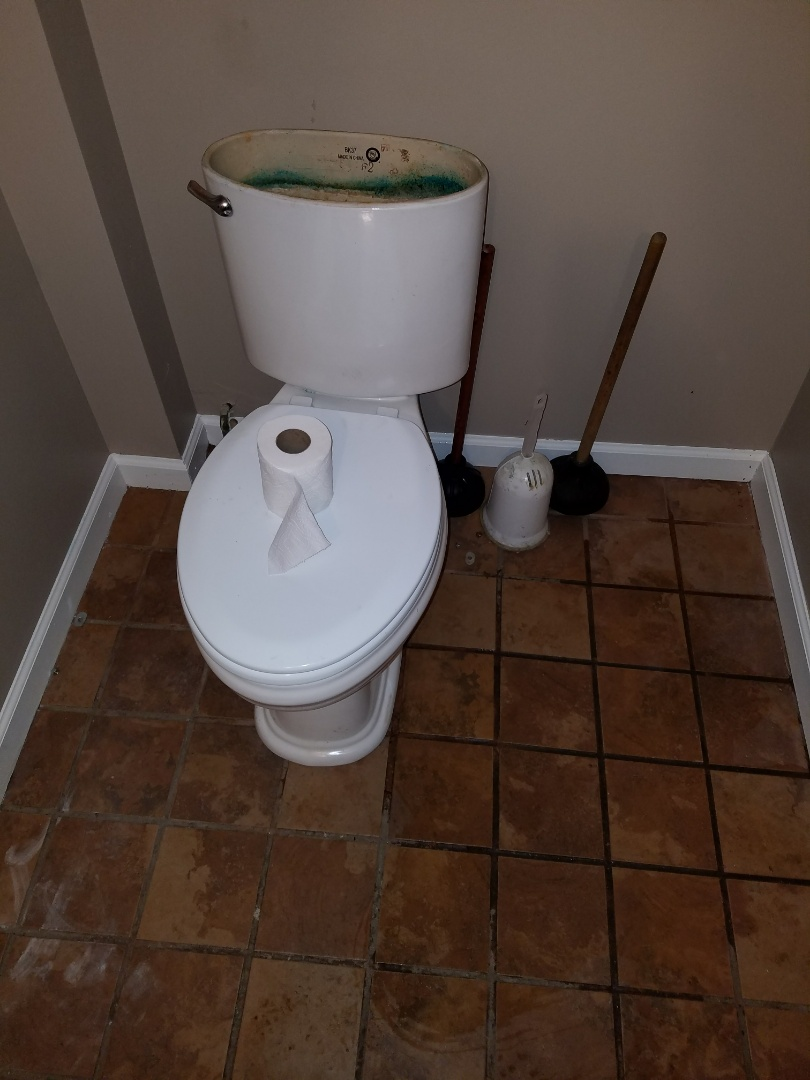 Rod through a toilet to clear an obstructed sewer pipe.