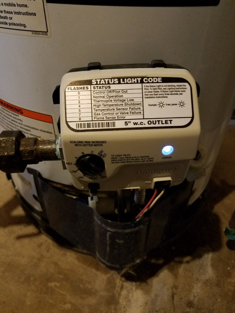 Carpentersville, IL - Repaired a failed gas control valve assembly for an existing water heater.