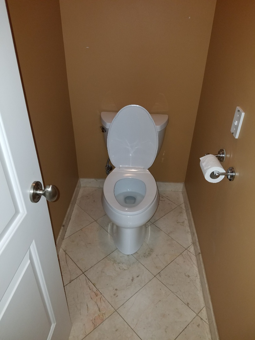 Reset an existing toilet with new seals and connections due to a loose mount that could cause leaks in the walls.