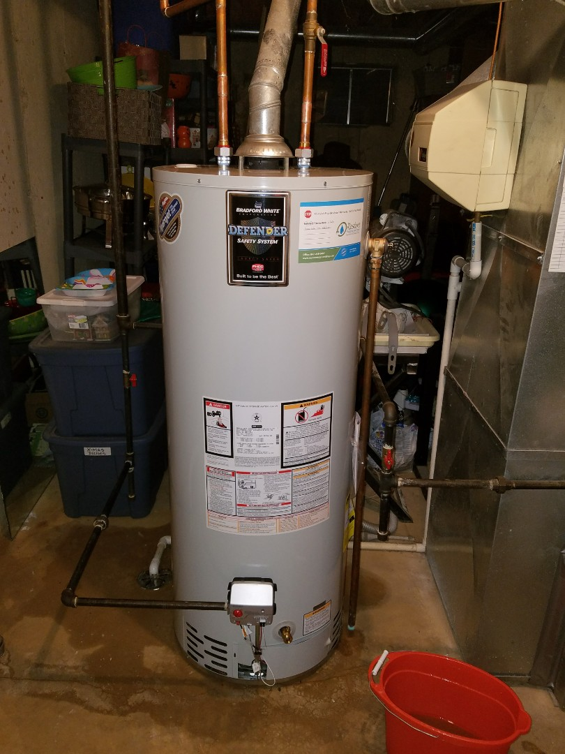 Replaced an older water heater that was leaking in the basement.