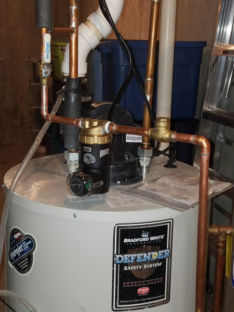 Replaced an older recirculation pump and repaired the connecting piping due to corrosion.
