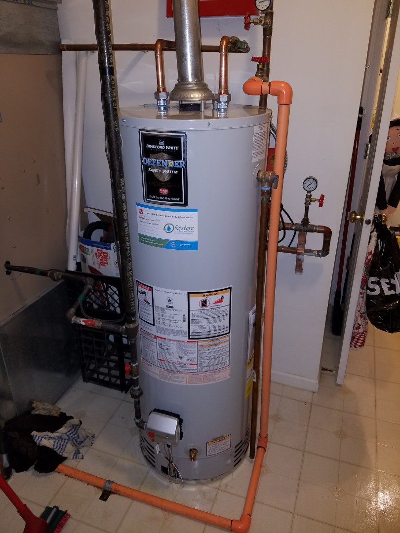 Replaced an older water heater that was leaking onto the floor.