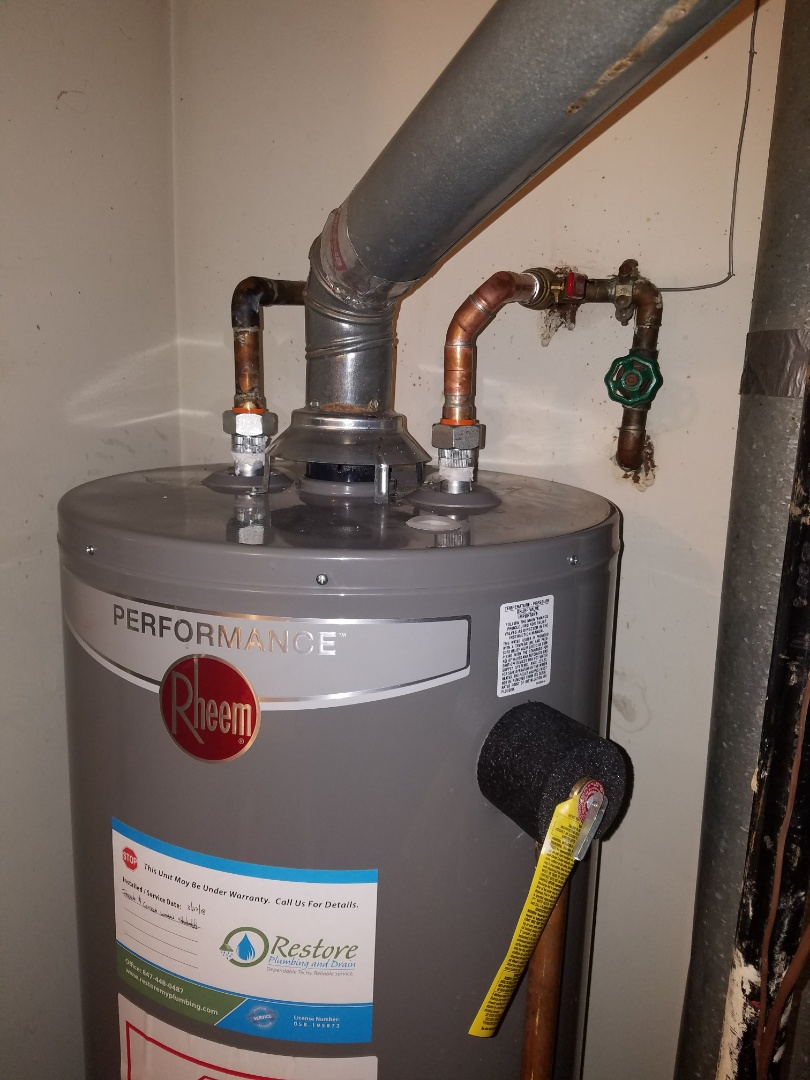 Replace a shutoff valve for a water heater to gain code compliance.