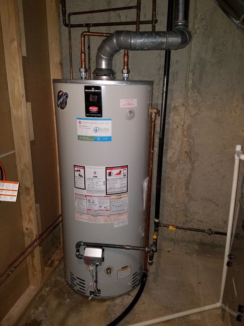 Replace an older water heater that was leaking in the basement.