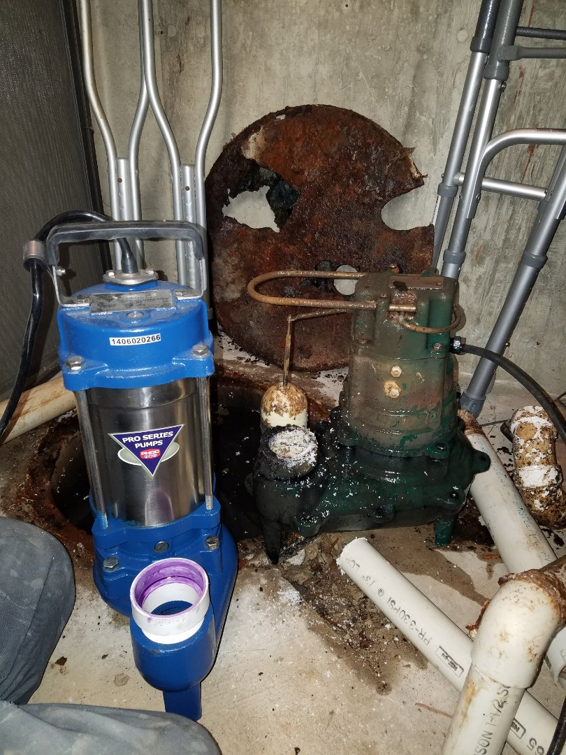Replace a failed sewage ejection pump that caused a backup in the basement.