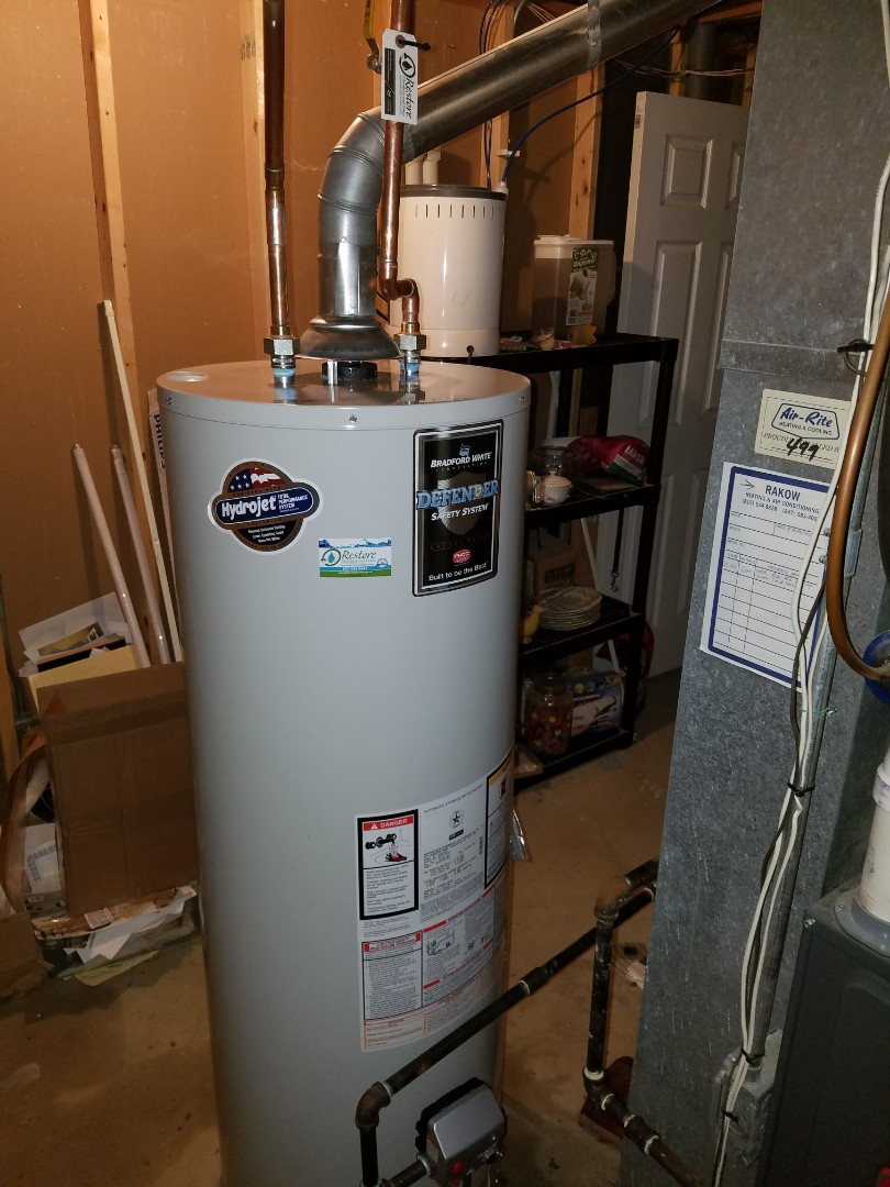 Replaced an older water heater that was leaking in the basement to prevent flooding from a possible catastrophic failure.