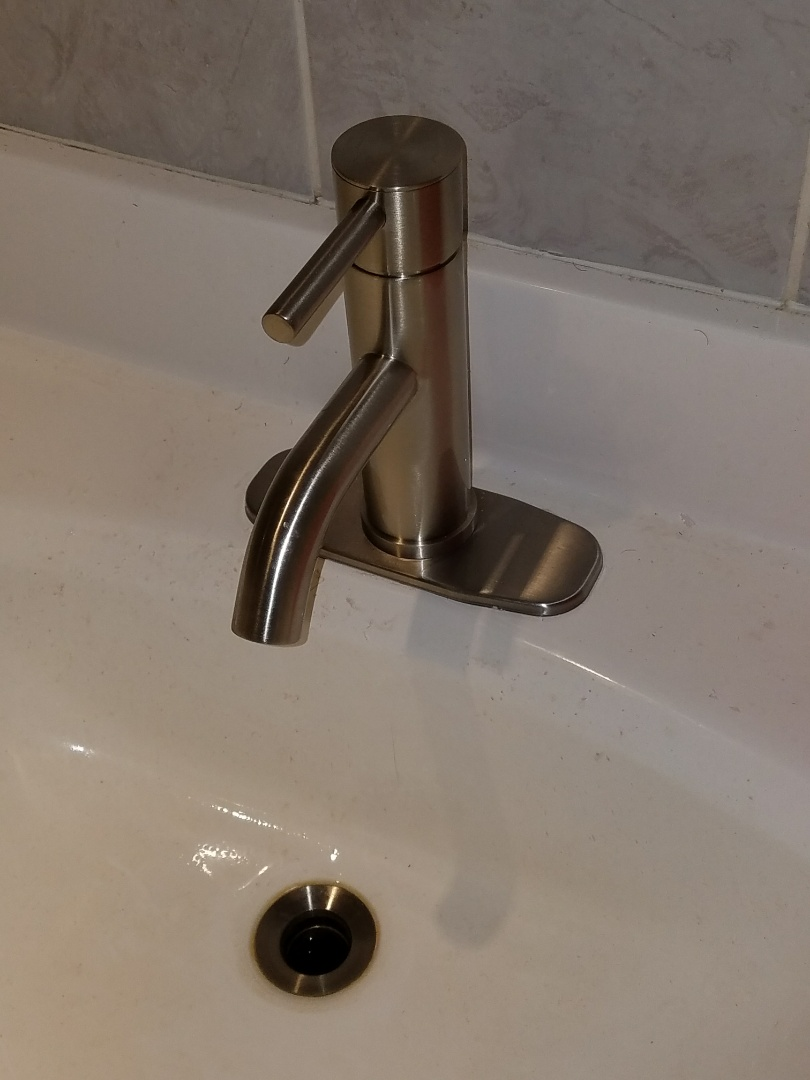 Replaced an older faucet that was leaking into the cabinet and wall.