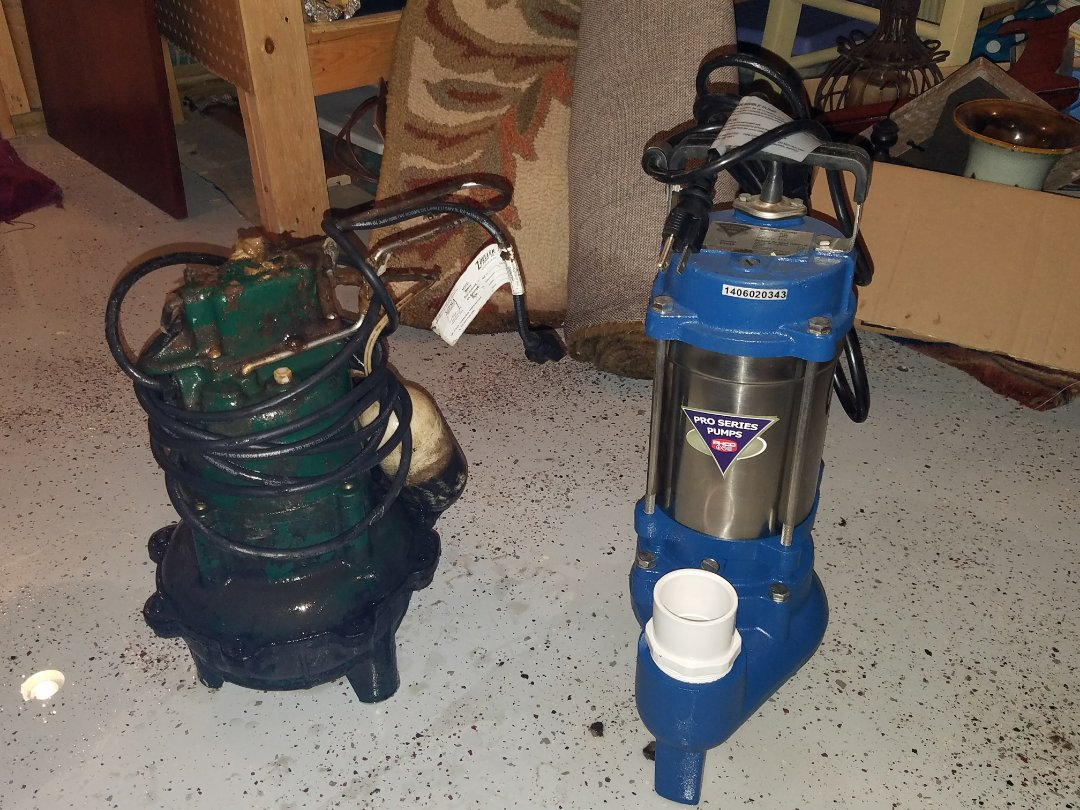 Replace an Ejector pump that failed and caused a backup in the basement.