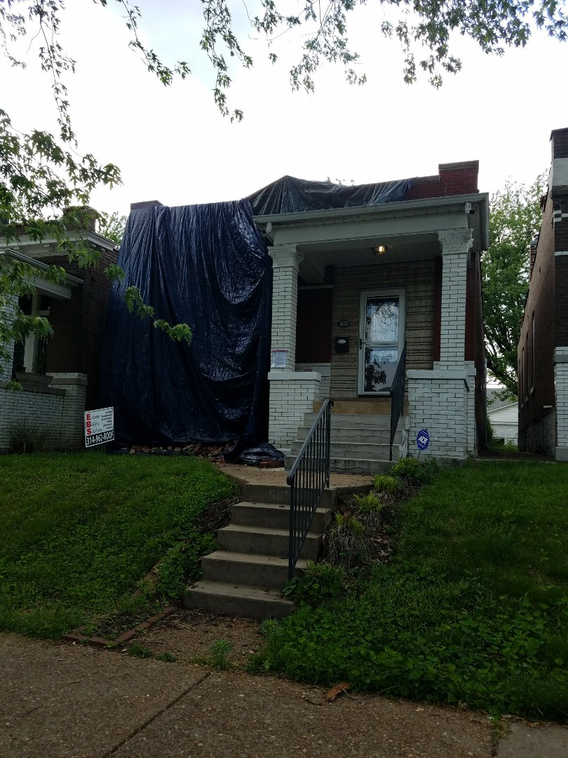 St. Louis, MO - EBS is performing a front brick wall repair.